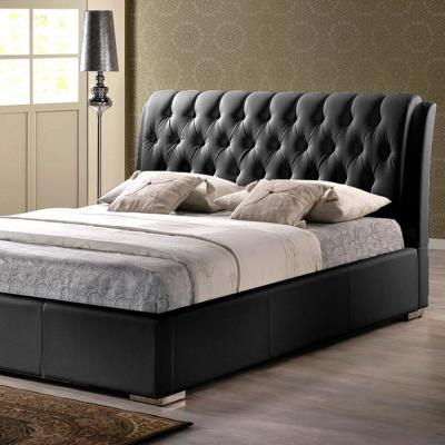 Bianca Transitional Black Faux Leather Upholstered Queen Size Bed