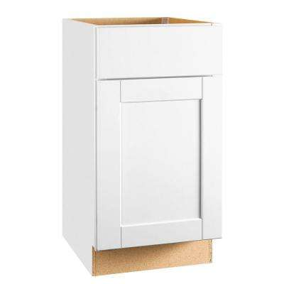 Shaker Assembled 18x34.5x24 in. Base Kitchen Cabinet with Ball-Bearing Drawer Glides in Satin White
