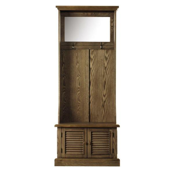 "Home Decorators Collection Shutter Weathered Oak 29.5"" W Hall Tree with Cabinet"