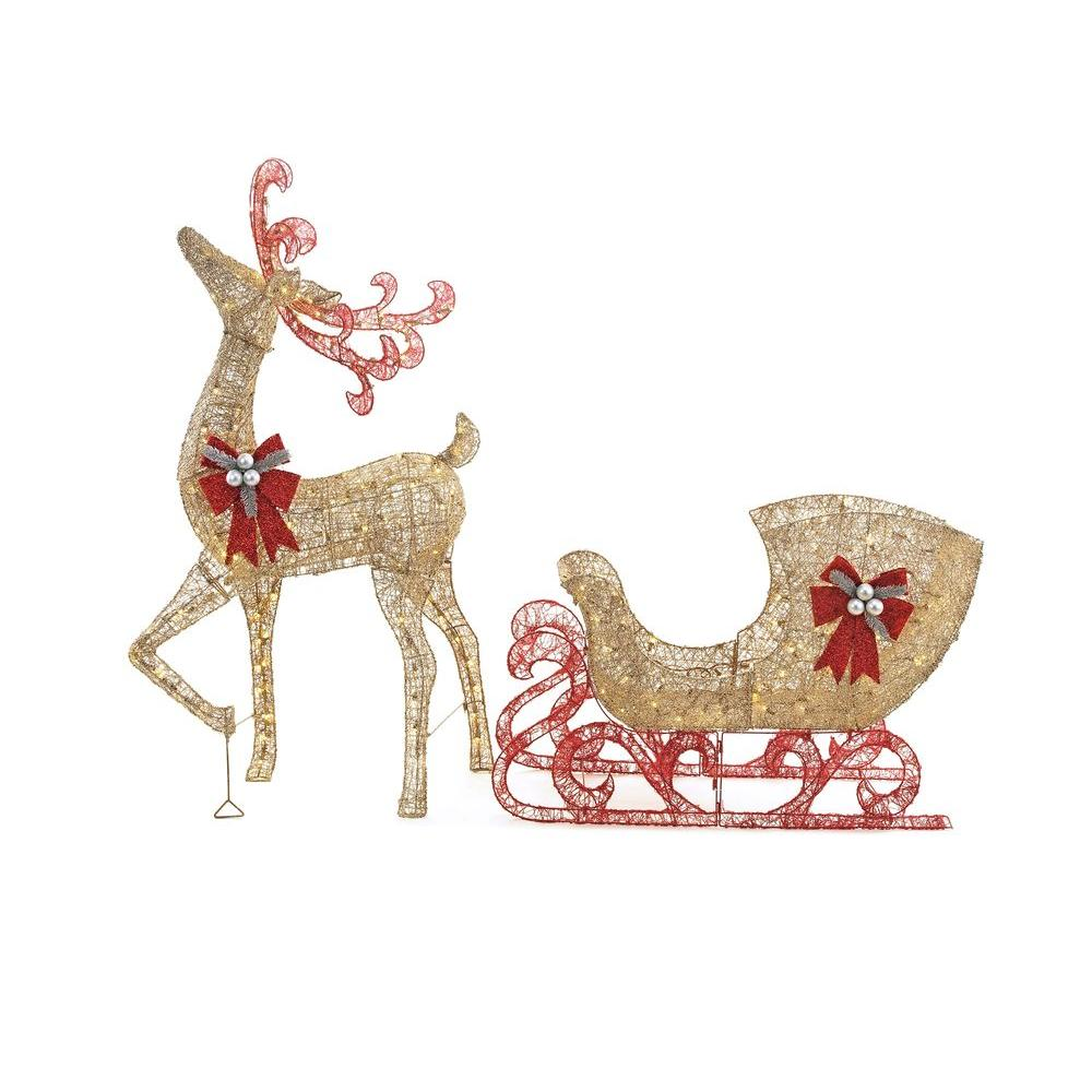 Home Accents Holiday 5 Ft. Gold Reindeer With 44 In