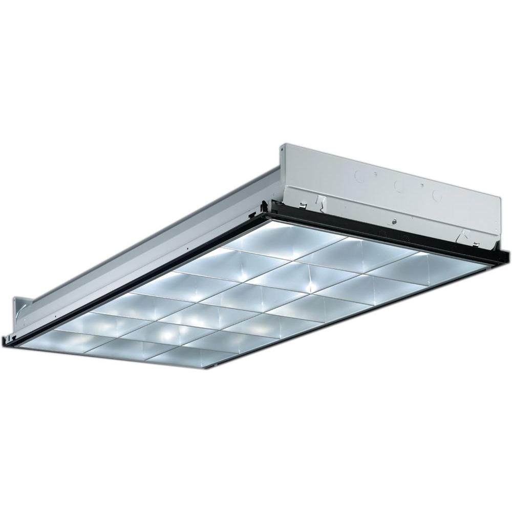 Lithonia Lighting 2PM3N G B 3 32 18LD MVOLT GEB10IS 3-Light Silver Fluorescent Parabolic
