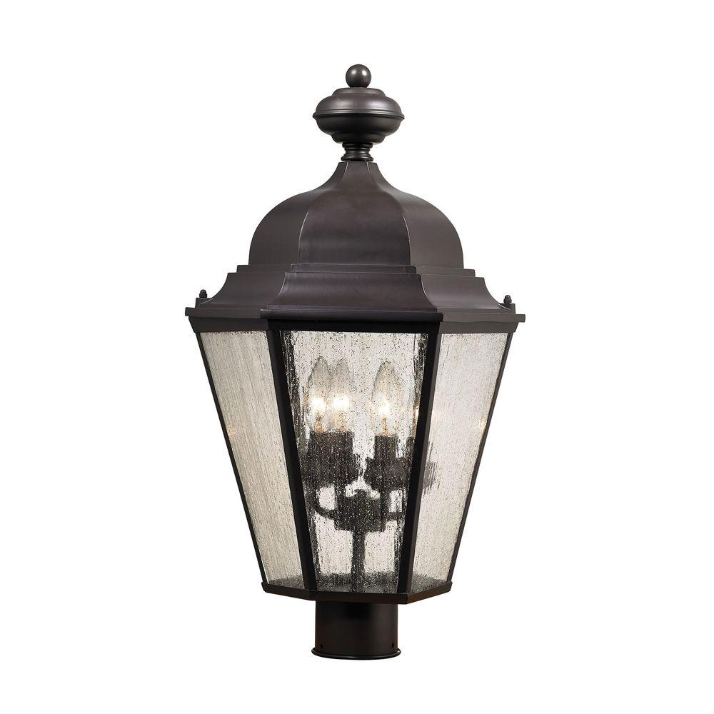 Titan Lighting Cotswold 4 Light Oil Rubbed Bronze Outdoor Post Lamp Tn 60281 The Home Depot