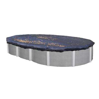 16 ft. x 32 ft. Oval Navy Blue Heavy-Duty Above Ground Swimming Pool Winter Cover with 3 ft. Overlap (2-Pack)