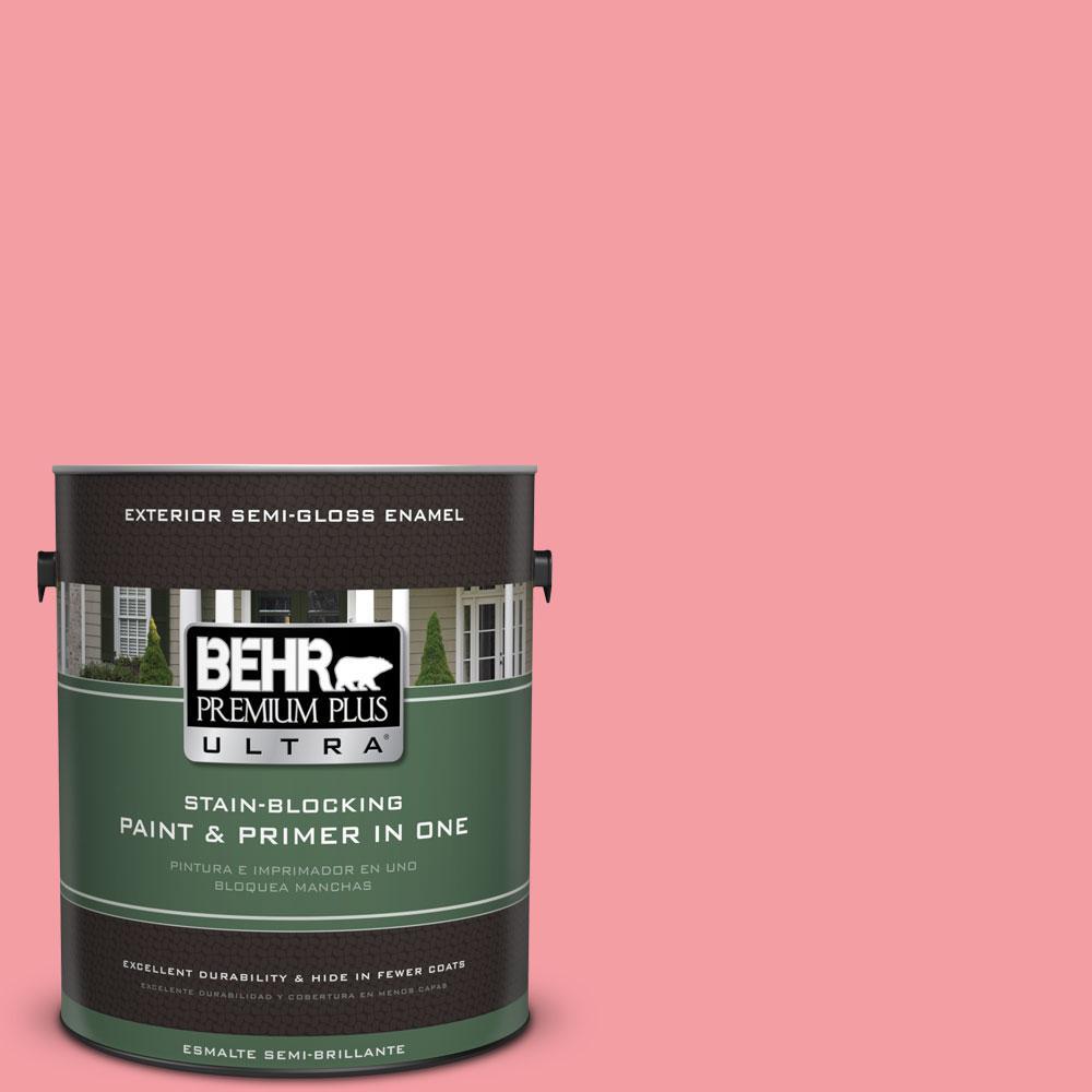 BEHR Premium Plus Ultra 1-gal. #140B-4 Island Coral Semi-Gloss Enamel Exterior Paint