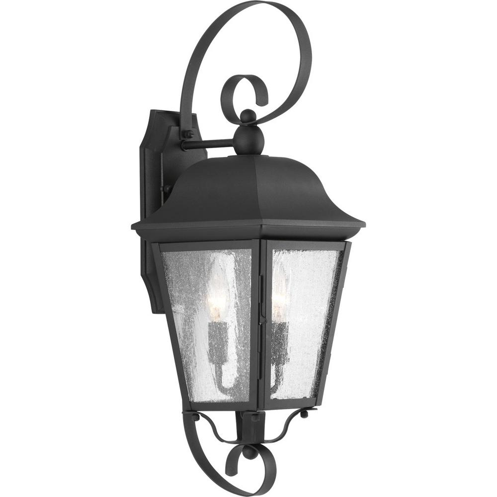 Kiawah Collection 2-Light Black 21.9 in. Outdoor Wall Lantern