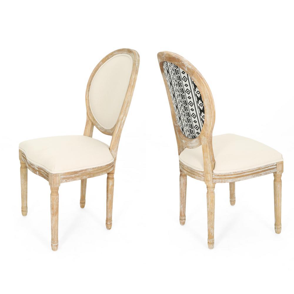 Noble House Phinnaeus Farmhouse Beige Fabric Dining Chairs ...