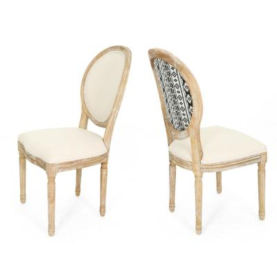Phinnaeus Farmhouse Beige Fabric Dining Chairs with Black and White Aztec Back Design (Set of 2)