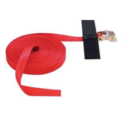 50 ft. x 1 in. x 50 ft. Cinch Strap with Hook and Loop Storage Fastener in Red