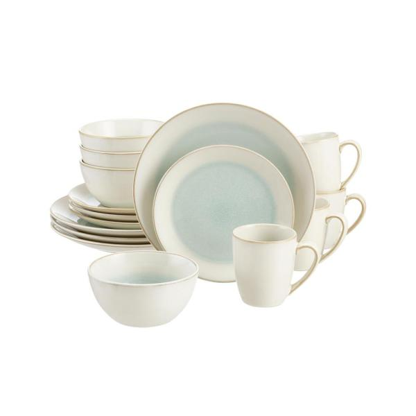 Adelaide 16-Piece Reactive Glaze Seabreeze Blue-Green Stoneware Dinnerware Set (Service for 4)