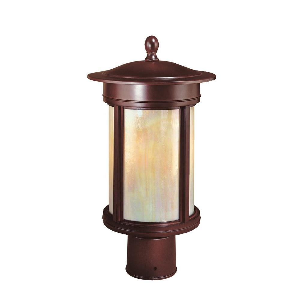 Outdoor Post Lights At Home Depot: Hampton Bay Craftsmen 3-Light Outdoor Oil Rubbed Bronze