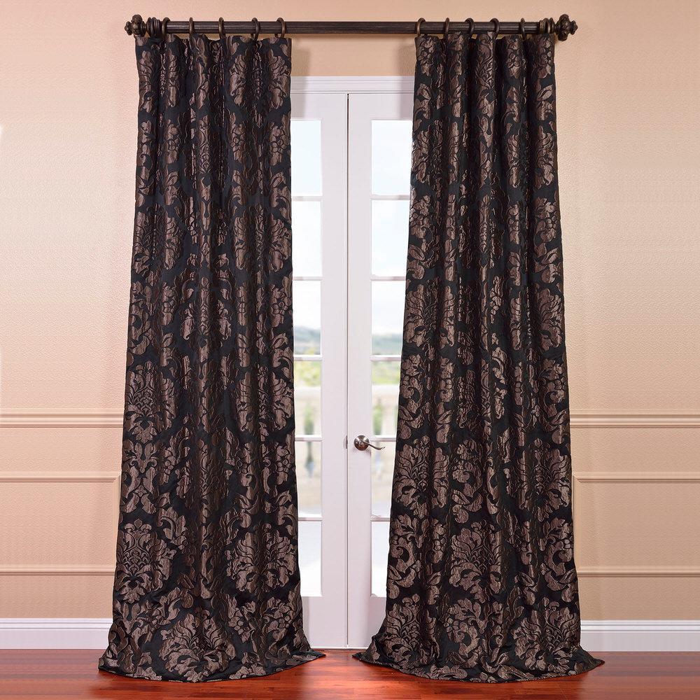 Exclusive Fabrics Furnishings Astoria Black And Pewter Faux Silk Jacquard Curtain Panel