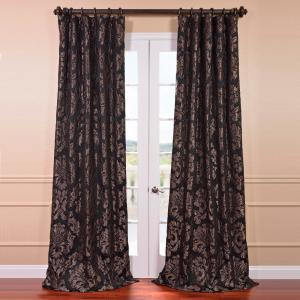 Exclusive Fabrics & Furnishings Astoria Black and Pewter Faux Silk Jacquard Curtain Panel - 50 inch W x 108 inch L by Exclusive Fabrics & Furnishings