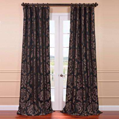 Astoria Black and Pewter Faux Silk Jacquard Curtain Panel - 50 in. W x 120 in. L