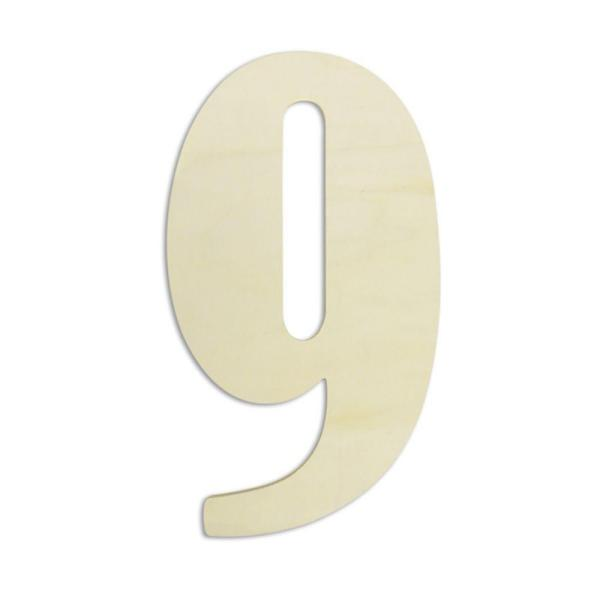 18 in. Oversized Unfinished Wood Number ''9''