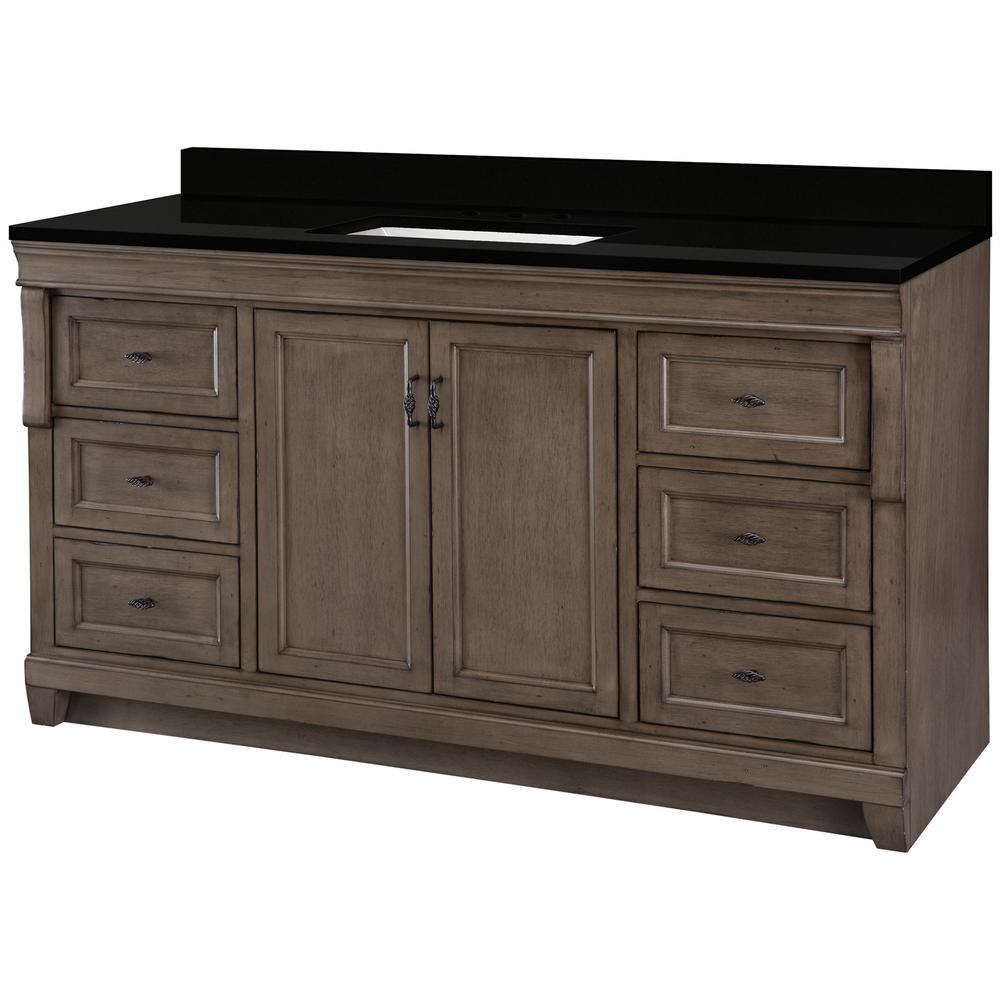 Home Decorators Collection Naples 61 in. W x 22 in. D Vanity in Distressed Grey with Granite Vanity Top in Midnight Black with Trough White Basin was $1599.0 now $959.4 (40.0% off)