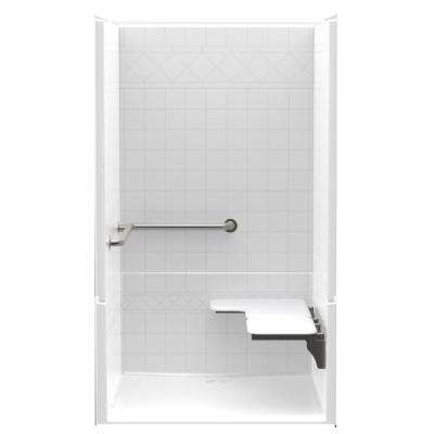 Accessible Diaganol Tile AcrylX 48in. x 42in. x 75 1/8in. 4PC Shower Kit with LH Seat, Grab Bars & Center Drain in White