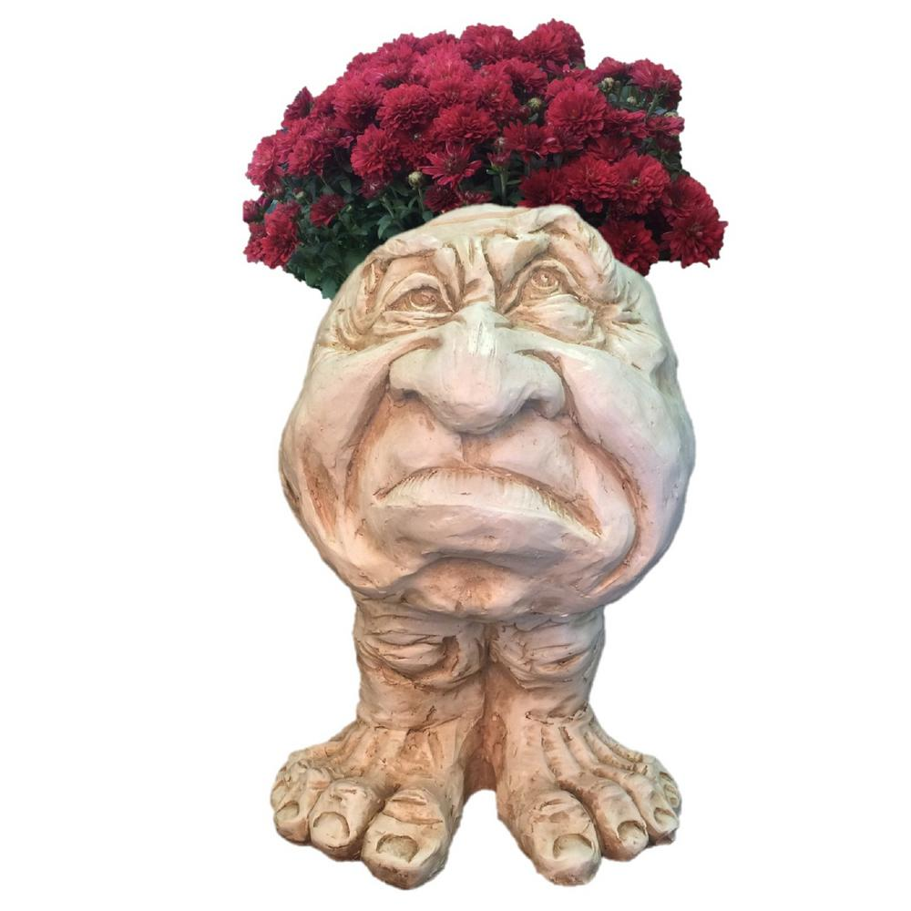 13 in. Antique White Grumpy the Muggly Face Statue Planter Holds