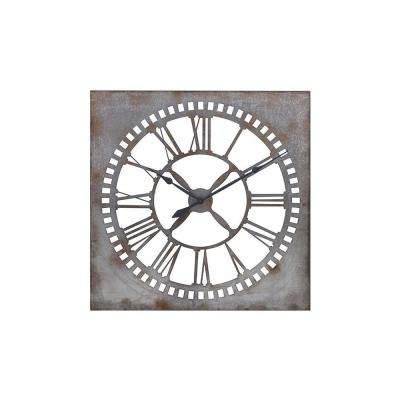 Houston 39.25 in. x 39.25 in. Square Iron Wall Clock