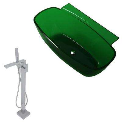 Vida 62 in. Man-Made Stone Classic Flatbottom Non-Whirlpool Bathtub in Emerald Green and Dawn Faucet in Chrome