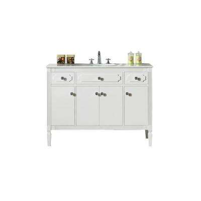 48 in. Vanity in White with Artificial Stone Top with White Basin