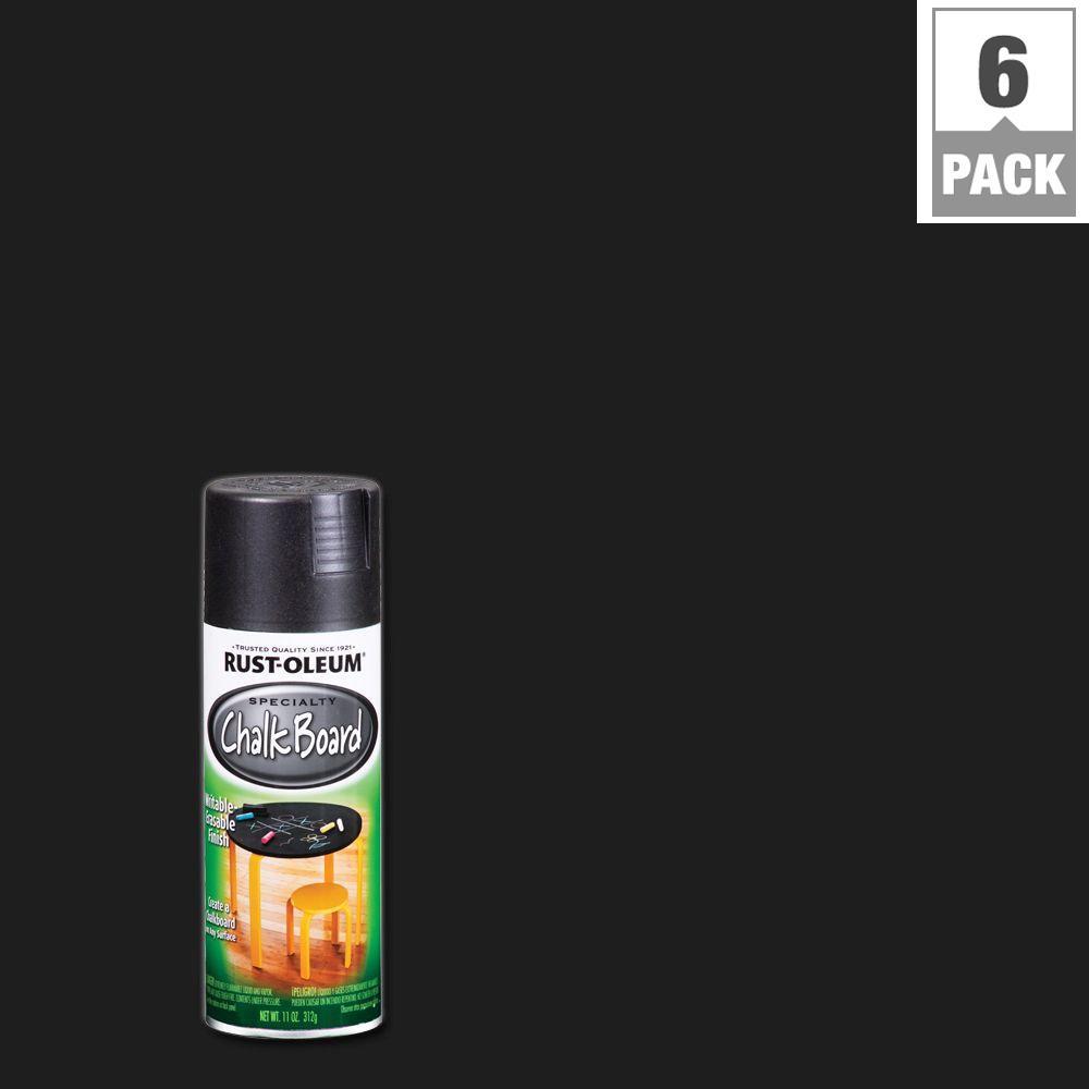 Rust-Oleum Specialty 11 oz. Chalkboard Flat Black Spray Paint (6-Pack)