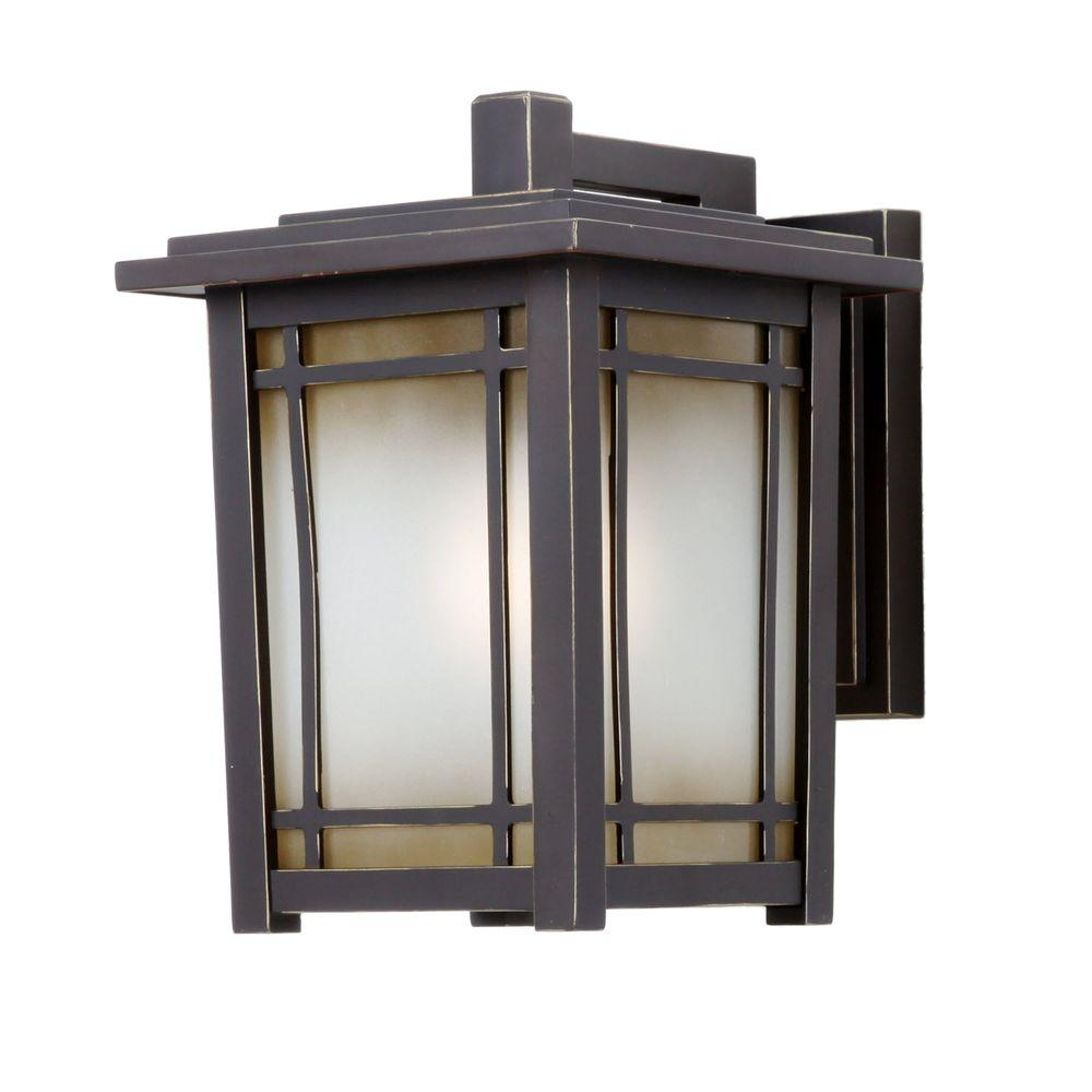 Home Decorators Collection Port Oxford 1 Light Oil Rubbed Chestnut Outdoor Wall Mount Lantern 23113 The Depot
