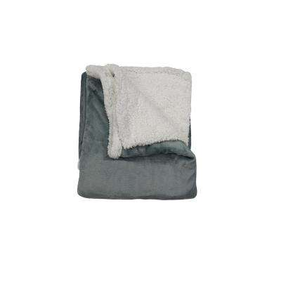 Andover Steel Blue Sherpa Throw
