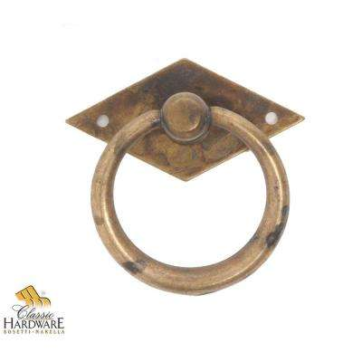 antique brass distressed ring pull with backplate