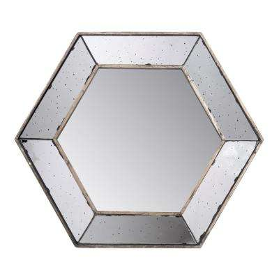 Antiqued Antique Hexagon Mirror