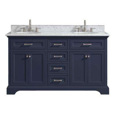Windlowe 61 in. W x 22 in. D x 35 in. H Bath Vanity in Navy Blue with Carrara Marble Vanity Top in White with White Sink