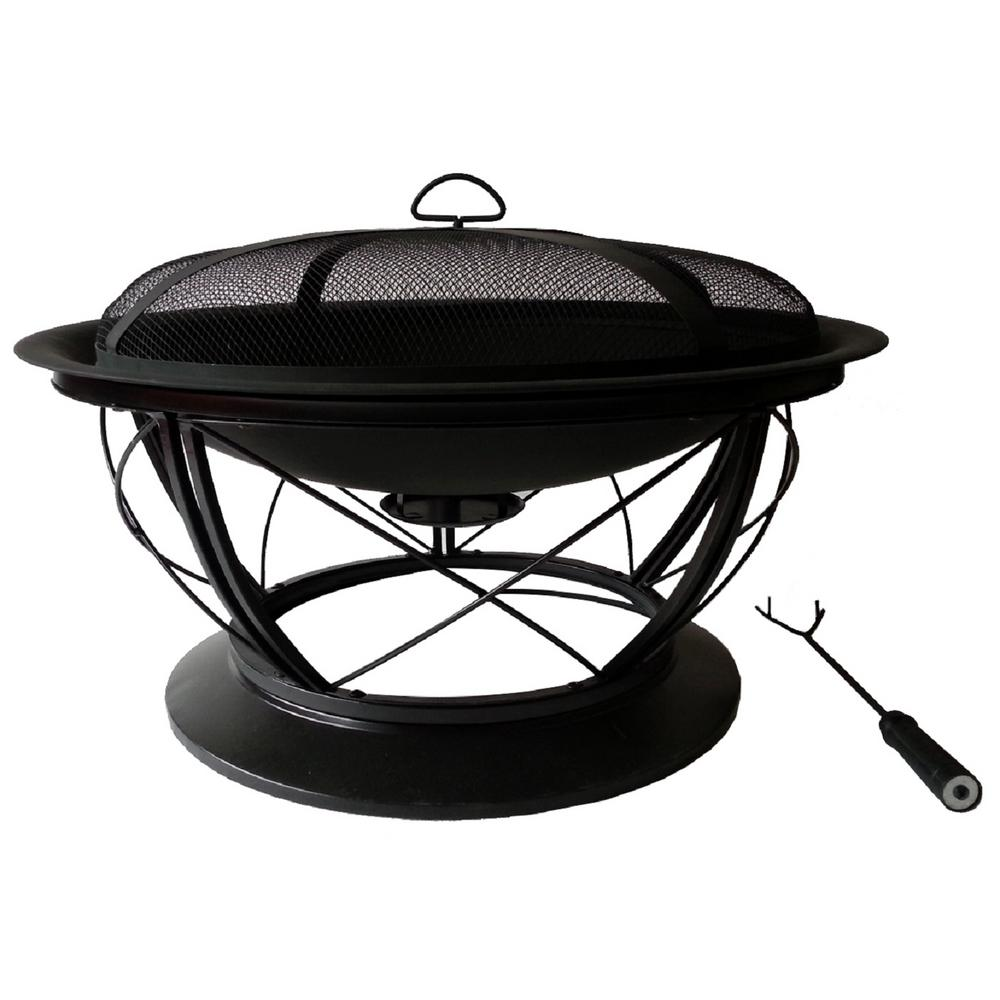 Pleasant Hearth Palmetto 30 in. x 19 in. Round Steel Wood Fire Pit in Rubbed Bronze with Cooking Grid
