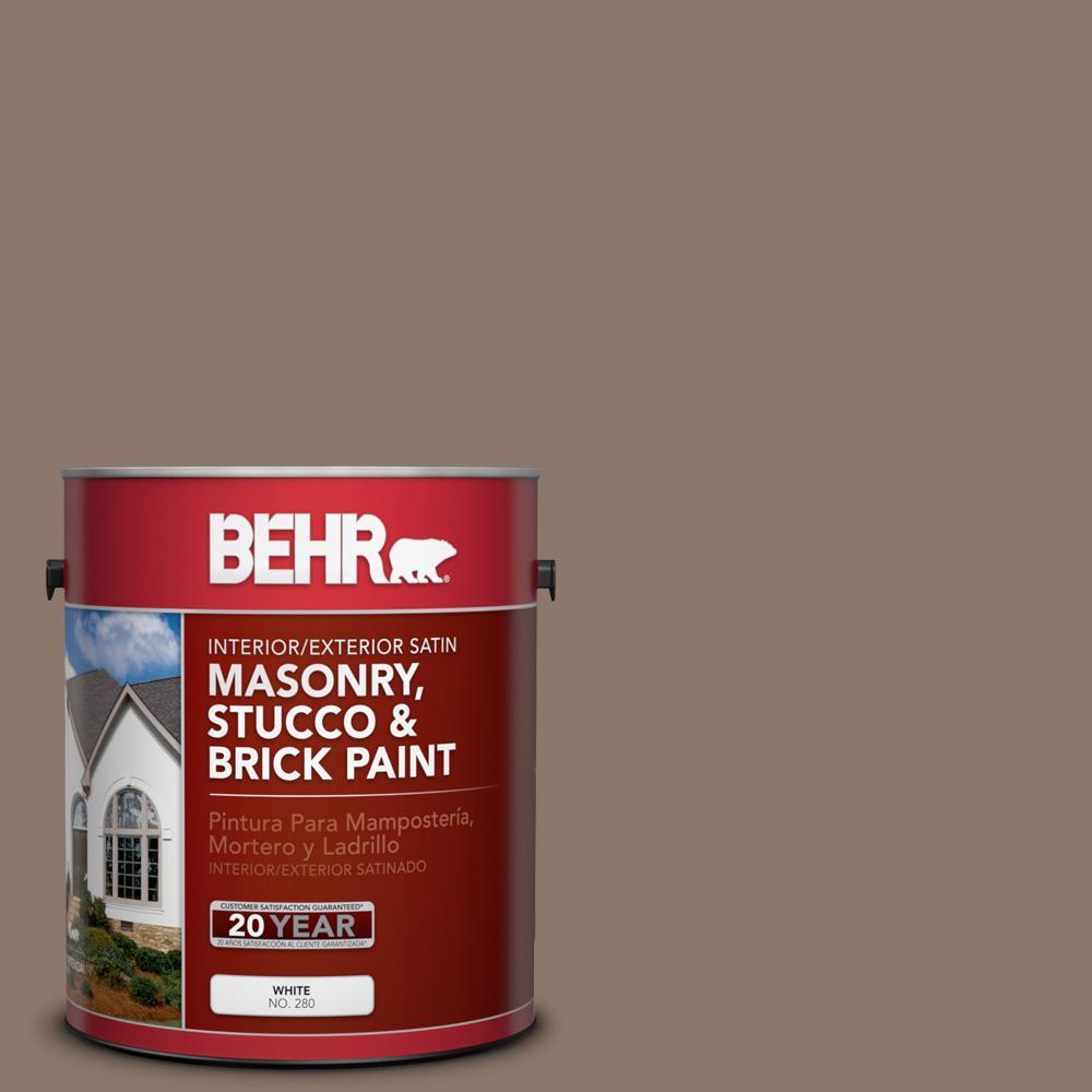 1 gal. #N210-5 Caffeine Satin Interior/Exterior Masonry, Stucco and Brick Paint