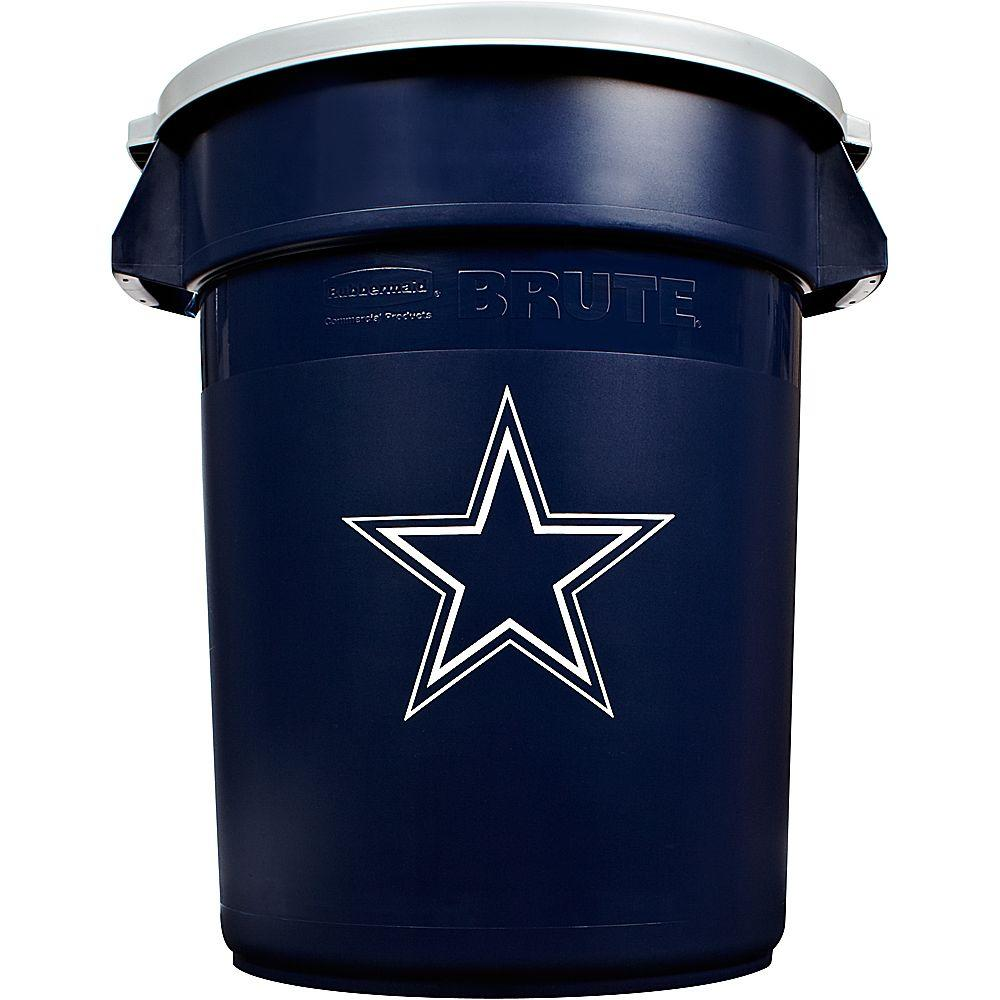 Rubbermaid Commercial Products BRUTE NFL 32 Gal. Dallas Cowboys Round Trash Can with Lid