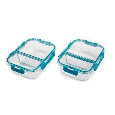 TruDivide 46 oz. Glass Food Storage Container with Lid (2-Pack)