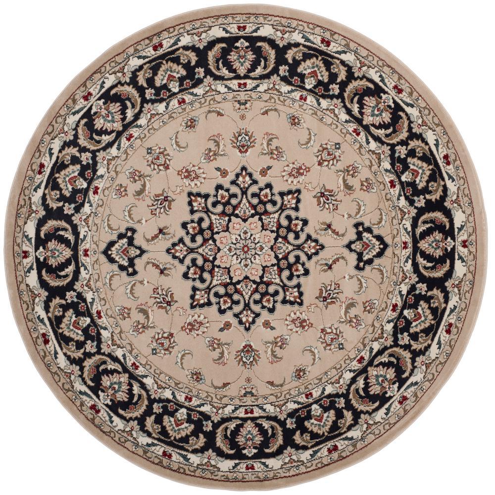 safavieh lyndhurst cream anthracite 7 ft x 7 ft round area rug lnh336k 7r the home depot. Black Bedroom Furniture Sets. Home Design Ideas
