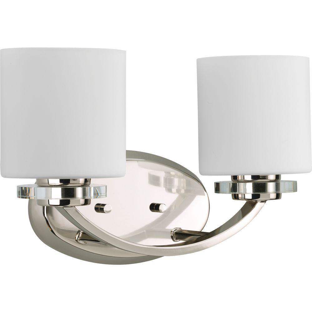 Progress Lighting Nisse Collection 2 Light Polished Nickel Bathroom Vanity With Gl Shades