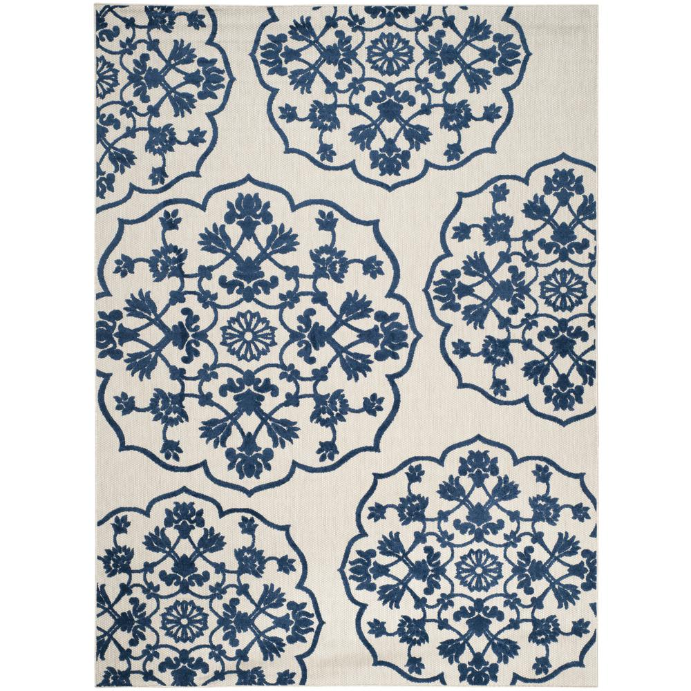 Persian Rugs Wellington: Safavieh Cottage Indoor/Outdoor Light Gray/Royal Blue 8 Ft