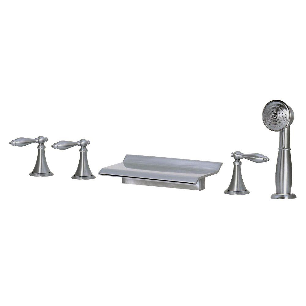kokols 3handle deckmount roman tub faucet with handshower in brushed nickel