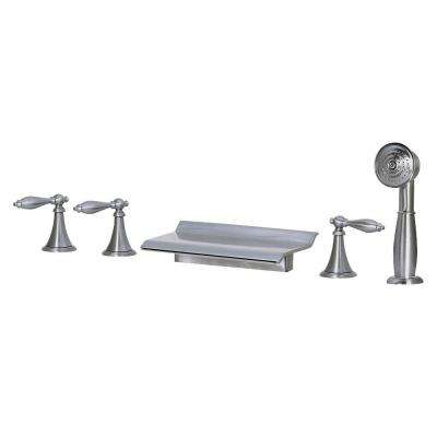 3-Handle Deck-Mount Roman Tub Faucet with Hand shower in Brushed Nickel