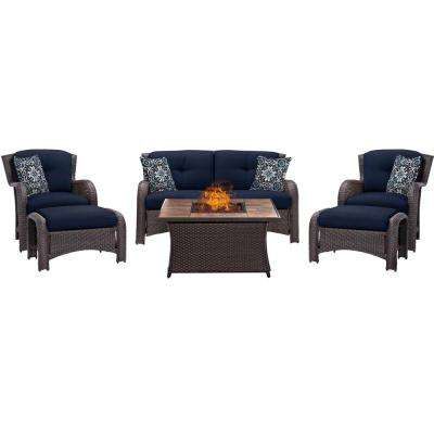 Strathmere 6-Piece Woven Patio Seating Set with Tile-Top Fire Pit and Navy Blue Cushions