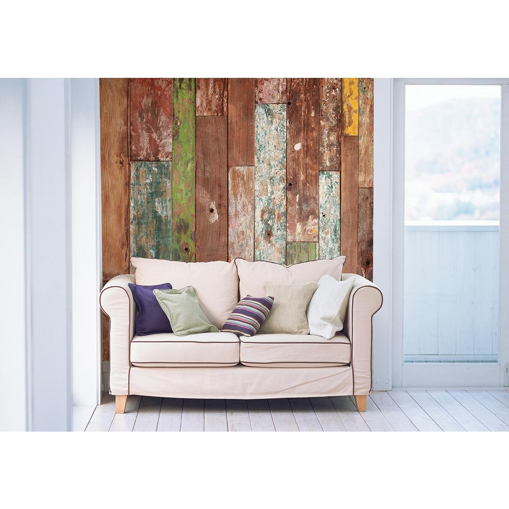Brewster 118 in x 98 in Weathered Wood Wall Mural WALS0031 The