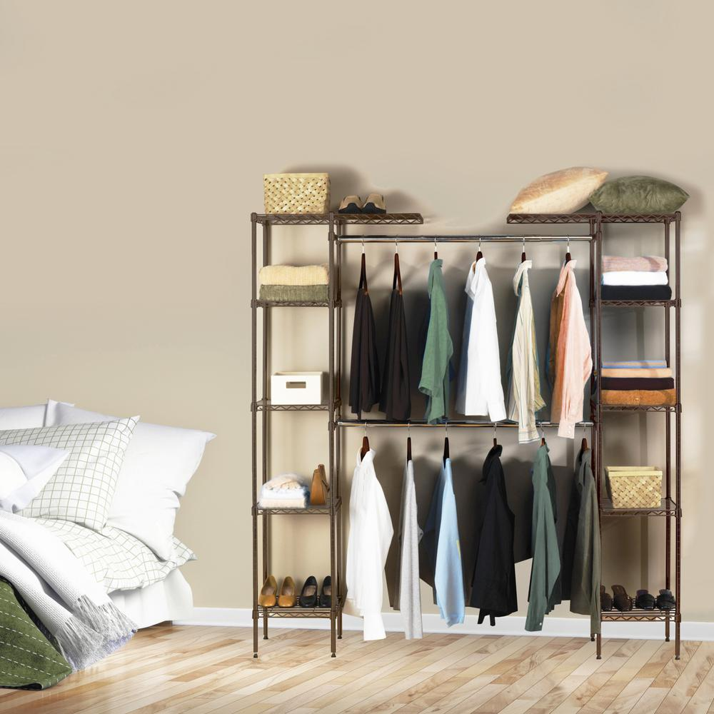 Seville Classics Satin Bronze Expandable Closet Organizer System