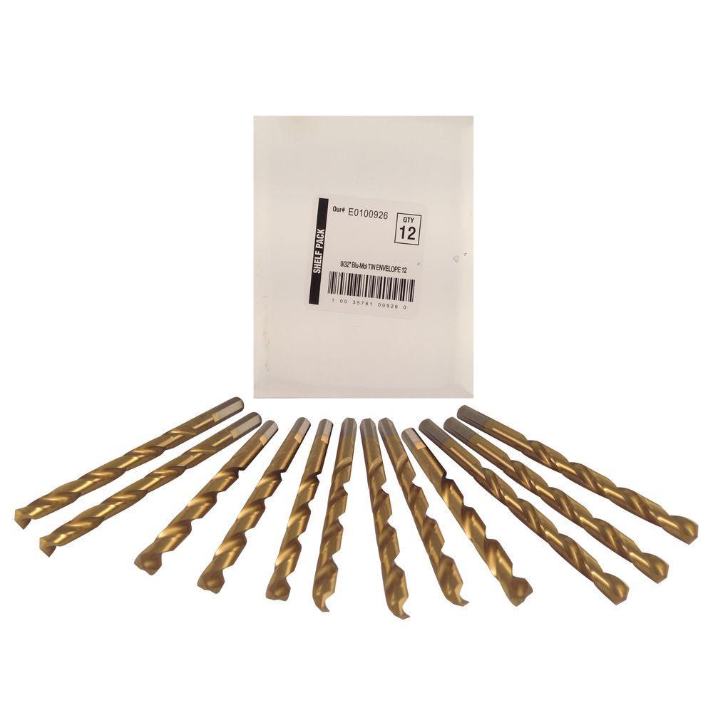 9/32 in. Diameter Titanium Jobber Drill Bit (12-Pack)