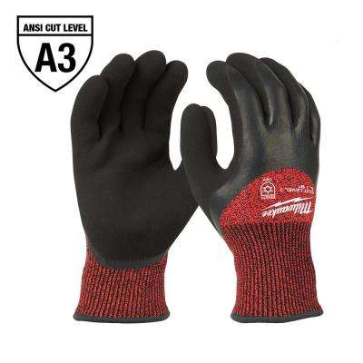 X-Large Red Latex Level 3 Cut Resistant Insulated Winter Dipped Work Gloves