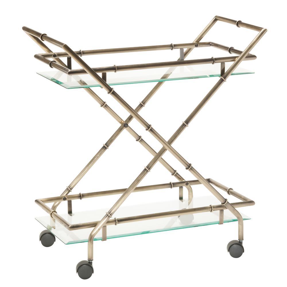 Lanai Antique Brass Serving Cart