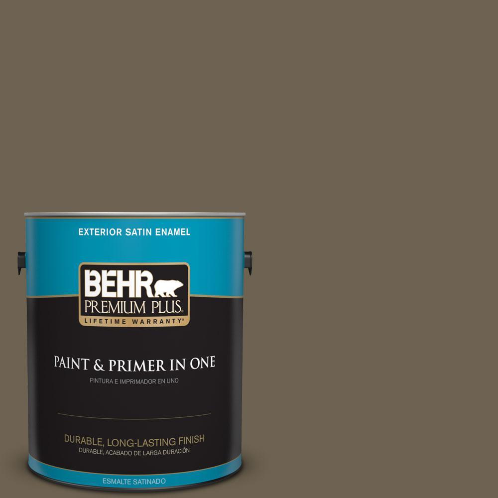 BEHR Premium Plus 1-gal. #N310-7 Classic Bronze Satin Enamel Exterior Paint, Greens