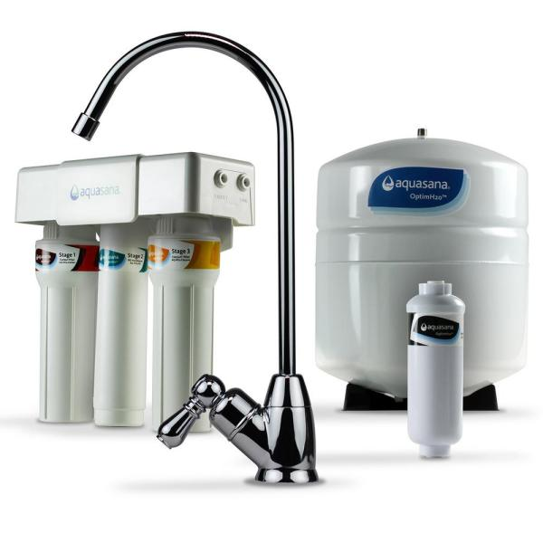OptimH2O Reverse Osmosis Claryum Under-Counter Water Filtration System with Chrome Finish Faucet