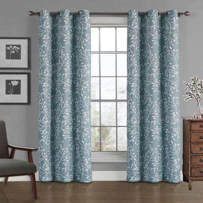 Branches Crushed Microfiber Panel in Blue - 40 in. W x 84 in. L