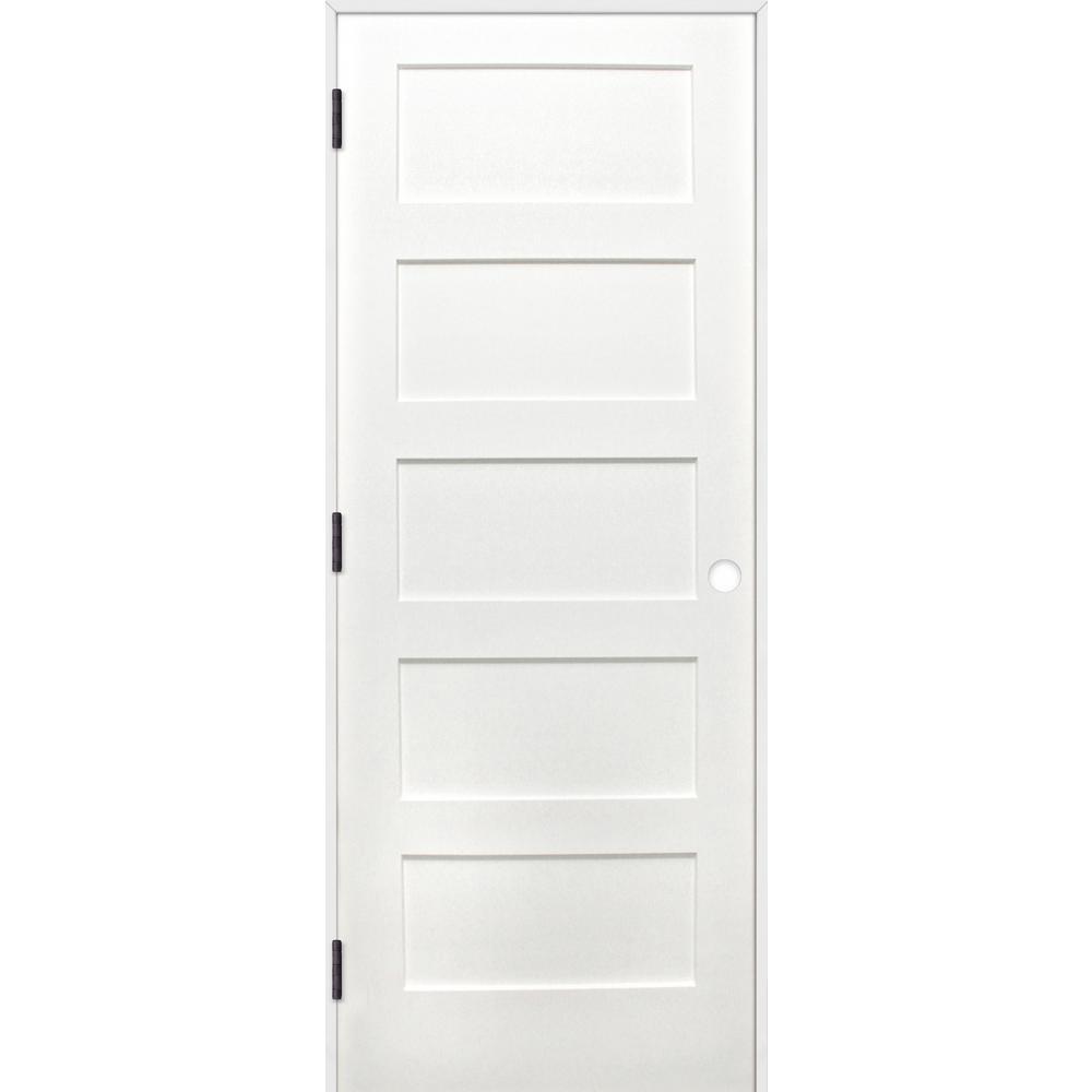 Shaker Unfinished 5 Panel Solid Core Primed Pine Wood Reversible Single Prehung Interior Door