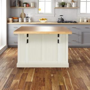 HOMESTYLES Nantucket White Kitchen Island with Wood Top 5022 ...